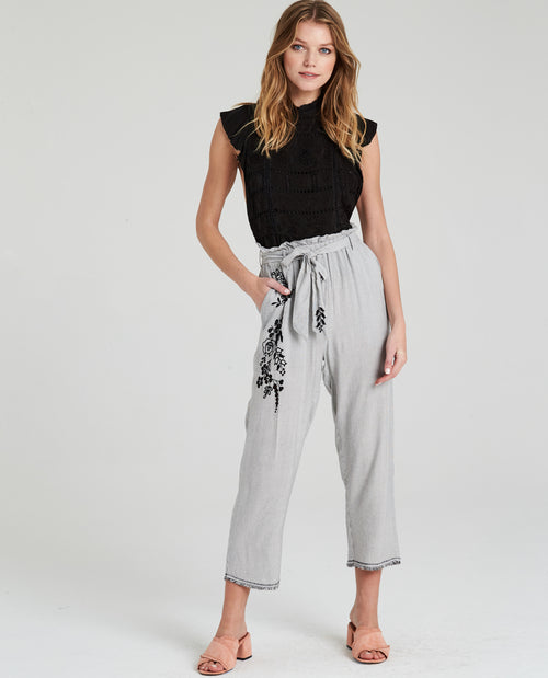 LYNA EMBROIDERED PAPER WAIST PANT