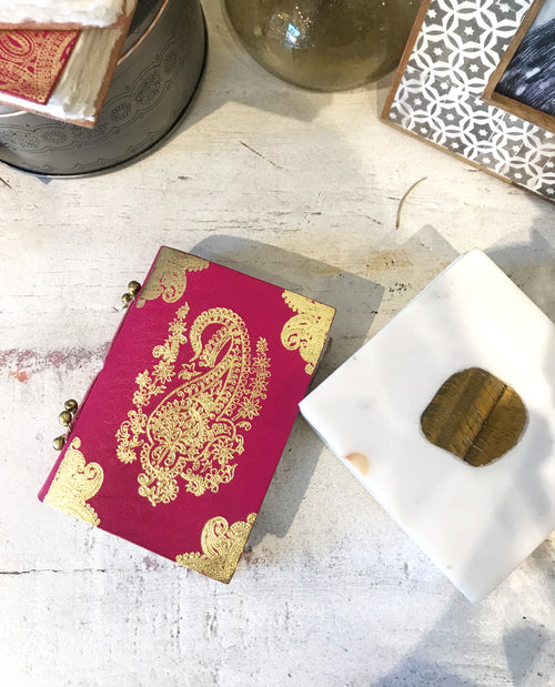 MINI GOLD LEAF LEATHER JOURNAL