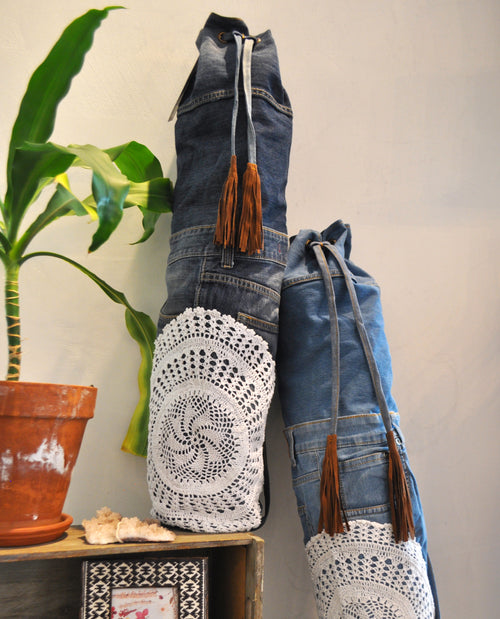 RECYCLED DENIM YOGA BAG