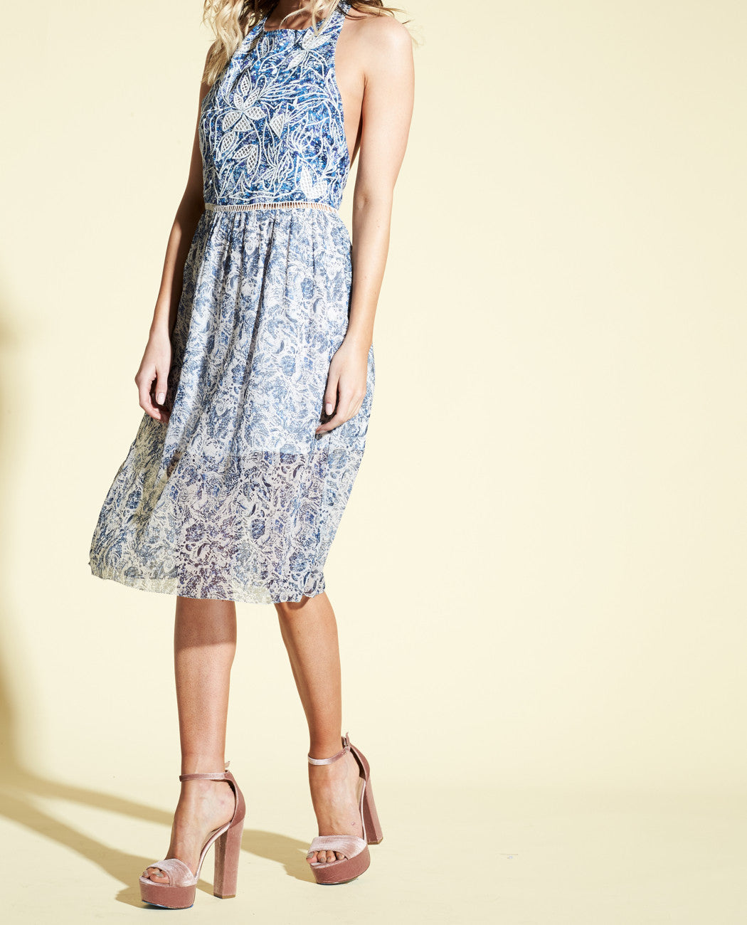 IRVING EMBROIDERED HALTER MIDI DRESS