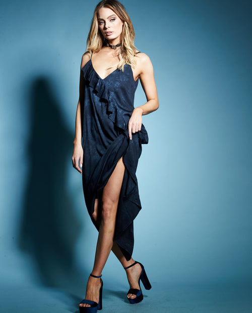 DINA RUFFLE SLIP DRESS