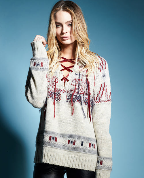 MILLY LACE UP SWEATER