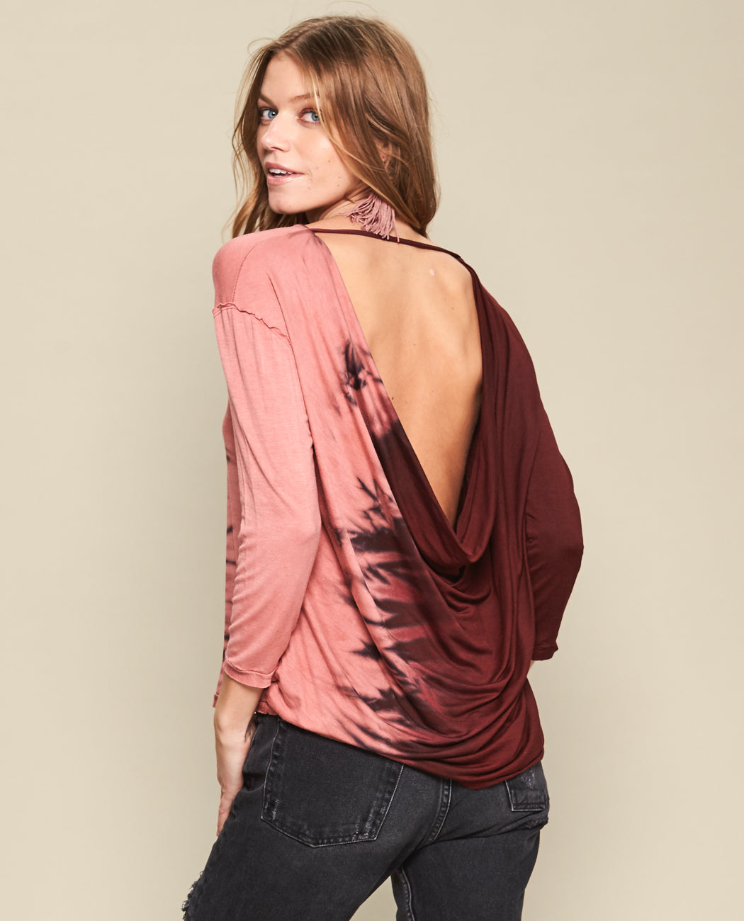 JASMIN WATERFALL BACK BLOUSE