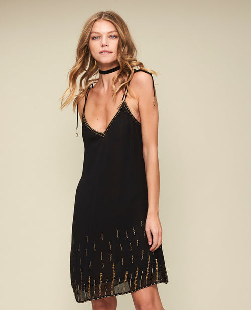 WILHELMINA EMBELLISHED SLIP DRESS