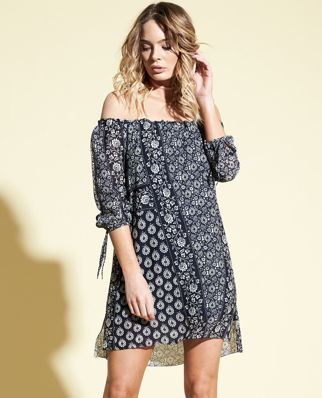 NOVA OFF SHOULDER MINI DRESS
