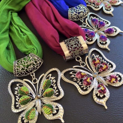 Scarves with Handmade Palestinian Embroidery Butterfly Pendants