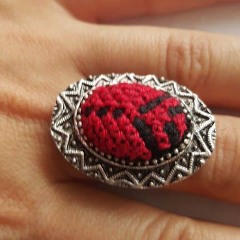 Traditional Palestinian Embroidery Ring