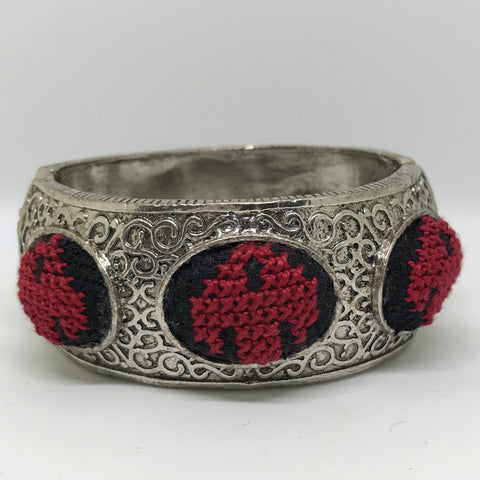 Red and Black Palestinian Embroidery Cuff Bracelet