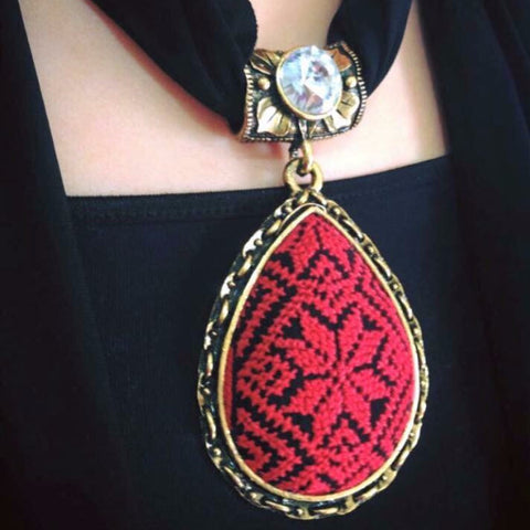 Scarves with Handmade Red and Black Embroidery Pendants