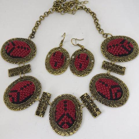 Red and Black Embroidery Golden Set