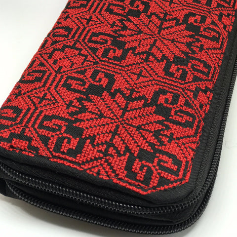 Red and Black Palestinian Embroidery Clutch