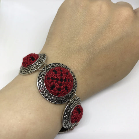 Red and Black Palestinian Embroidery Bracelets