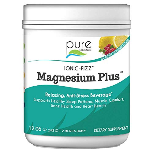 pure ESSENCE Labs Ionic Fizz Magnesium Plus - Calm Sleep Aid and Natural Anti Stress Supplement Powder - Raspberry Lemonade - 12.06 oz