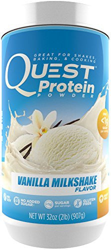 Quest Nutrition Protein Powder, Vanilla Milkshake, 22g Protein, 3g Net Carbs, 88% P/Cals, 2lb Tub, High Protein, Low Carb, Gluten Free, Soy Free