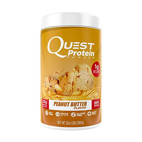 Quest Nutrition Protein Powder, Peanut Butter, 23g Protein, 1g Net Carbs, 84% P/Cals, 2lb Tub, High Protein, Low Carb, Gluten Free, Soy Free