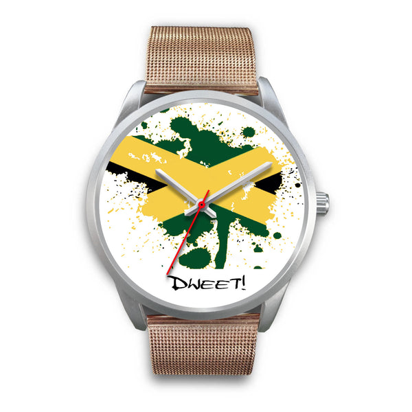 Silver Frame Jamaican Flag Splash Watch