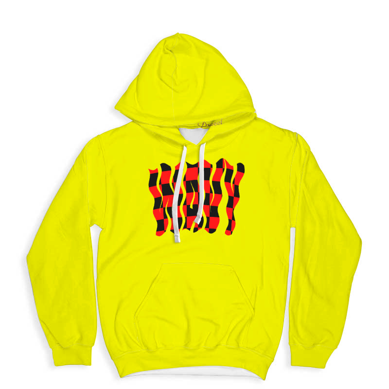 Yellow Wavy Red And Black Checker Hoodie