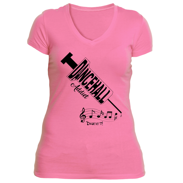 Ladies Dancehall addict v-neck T-shirt