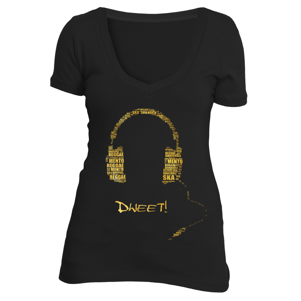 Ladies deep V music genre T-shirt