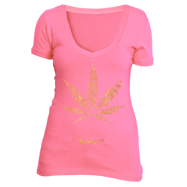 Ladies deep V weed leaf T-shirt