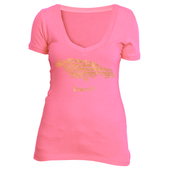 Ladies deep V Proud Jamaican T-shirt
