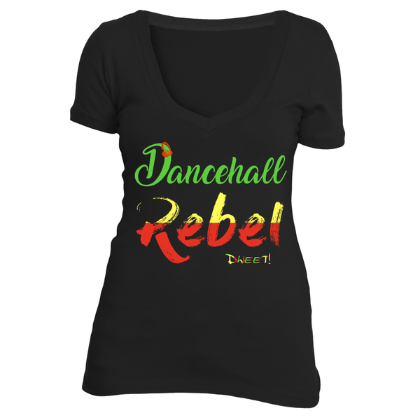 Ladies deep V Dancehall Rebel T-shirt