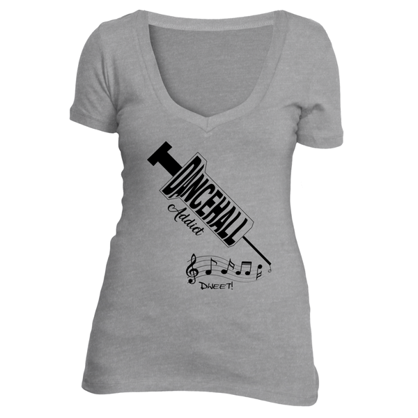 Ladies deep V Dancehall Addict T-shirt