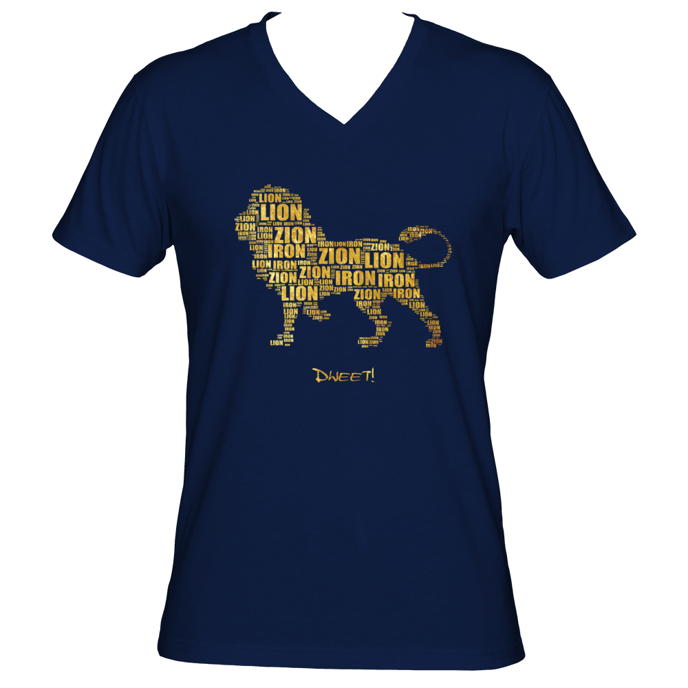 Men Iron Lion Zion V-neck T-shirt