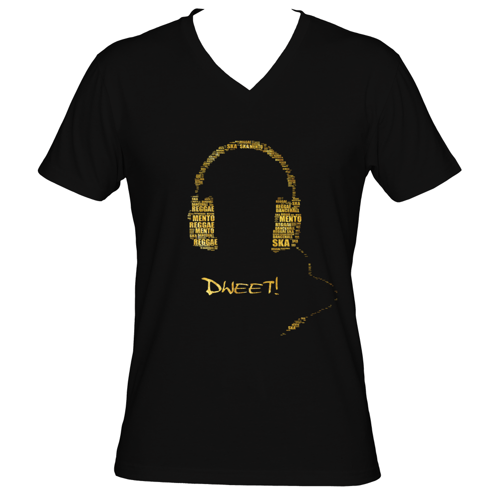 Men Jamaican music genre headphone V-neck T-shirt
