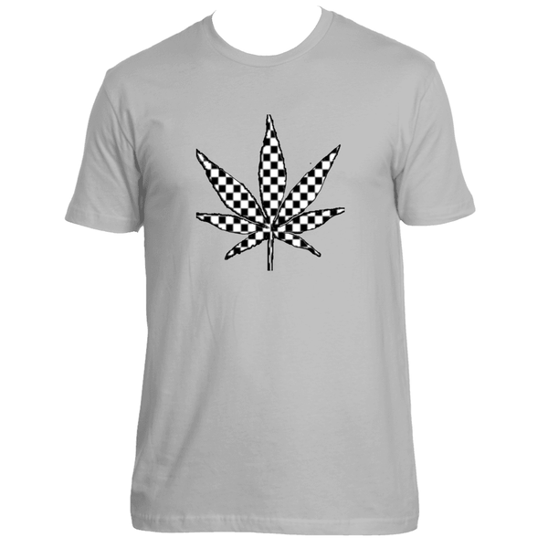 Checker Distressed Weed Leaf T-Shirt