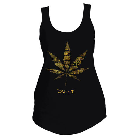 Ladies Weed Leaf Tank Top