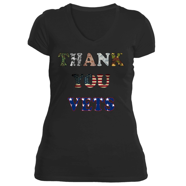Ladies Thank You Vets Memorial Day or Veterans Day Tee
