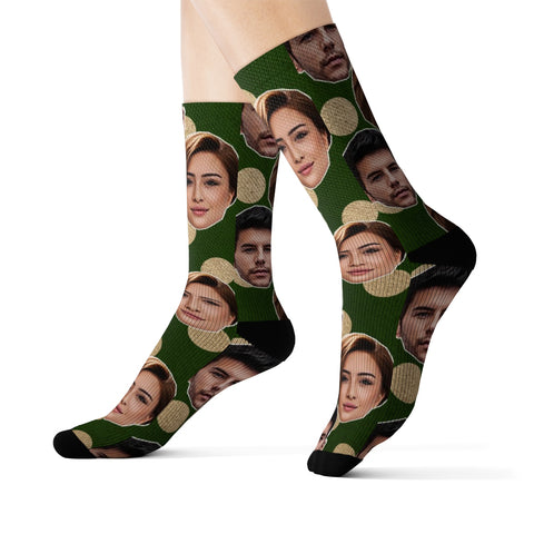 Personalized Couples  Green and Gold Photo  Socks