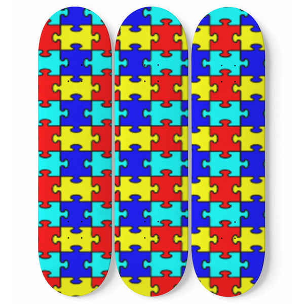 Custom Designed Autism Awareness 3 Skateboard Wall Art