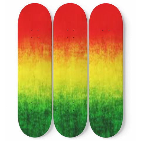 Custom Designed Rasta Colors 3 Skateboard Wall Art