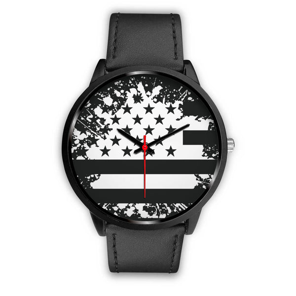 Custom Designed Black Star And Stripes Watch