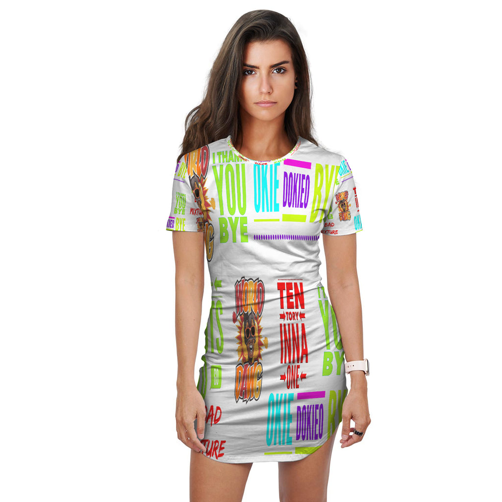 World Dawg Print T-Shirt Dress