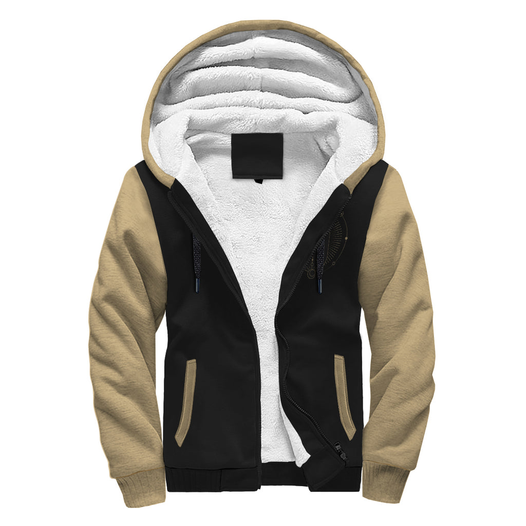 Custom Designed Tan and Black Sherpa Hoodie