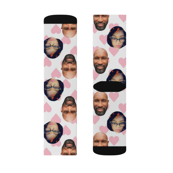 Personalized Couples Pink and White Photo Socks