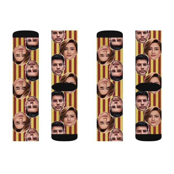 Personalized Couples Striped Photo Socks