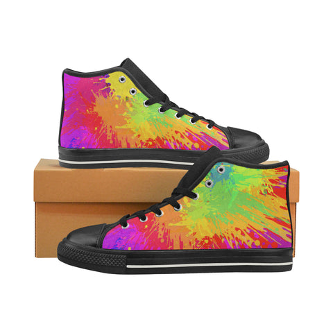 Multi Color Paint Splatter  Canvas Sneakers