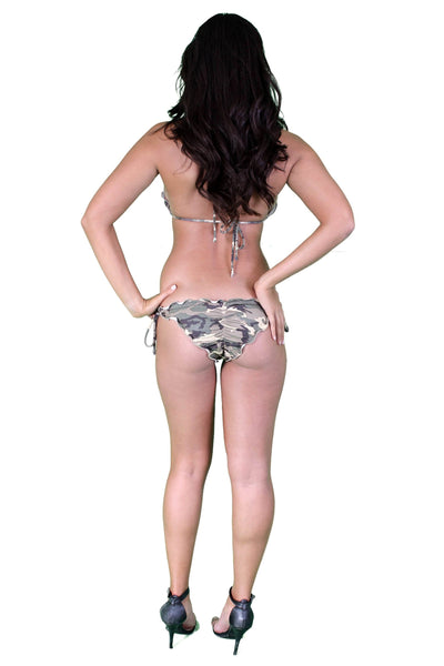 Women's Juniors Ruffled Camo  Swimwear