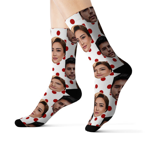 Personalized Couples Polka dot Photo Socks