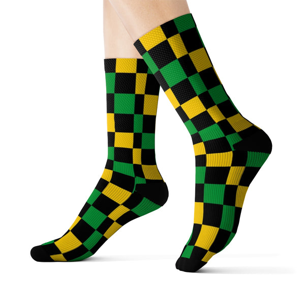 Jamaican Colors Checker Socks