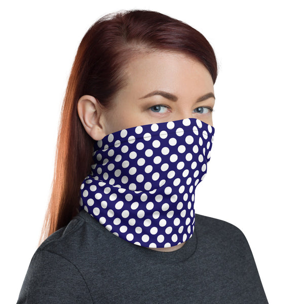 Blue And White Polka Dot Neck Gaiter