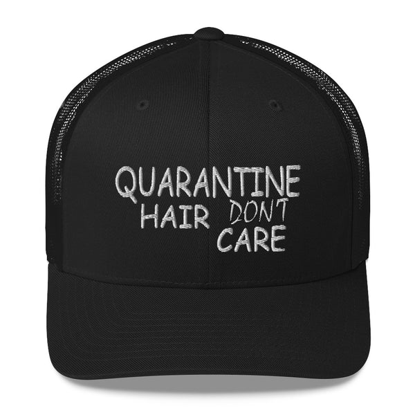 Quarantine Hair Don't Care  Women Trucker Hat Messy Bun High Ponytail social distancing