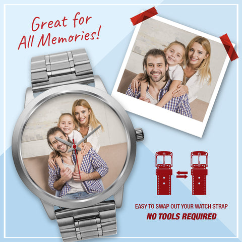 Personalized Silver Custom Photo Watch