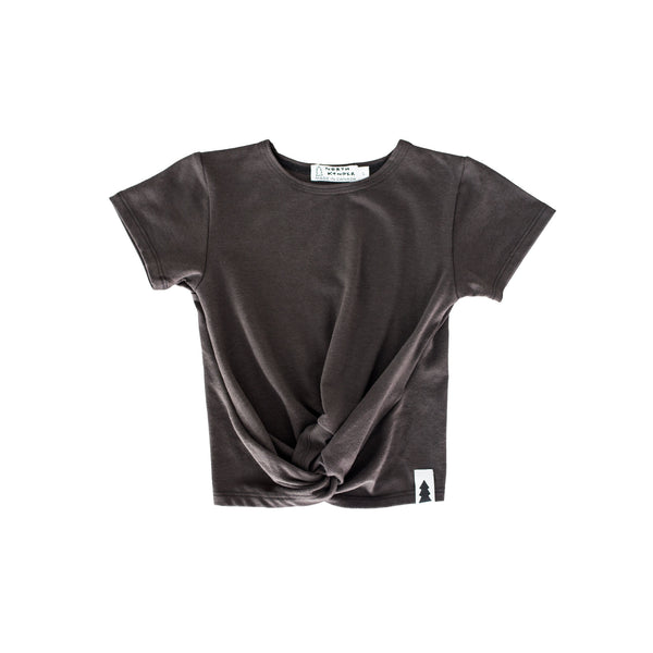 knotted tee - ash black