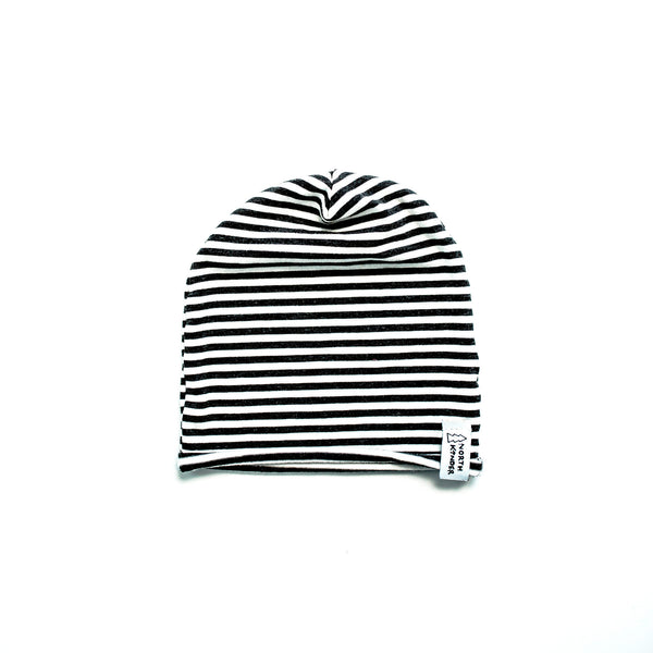 slouchy hat - striped white/charcoal