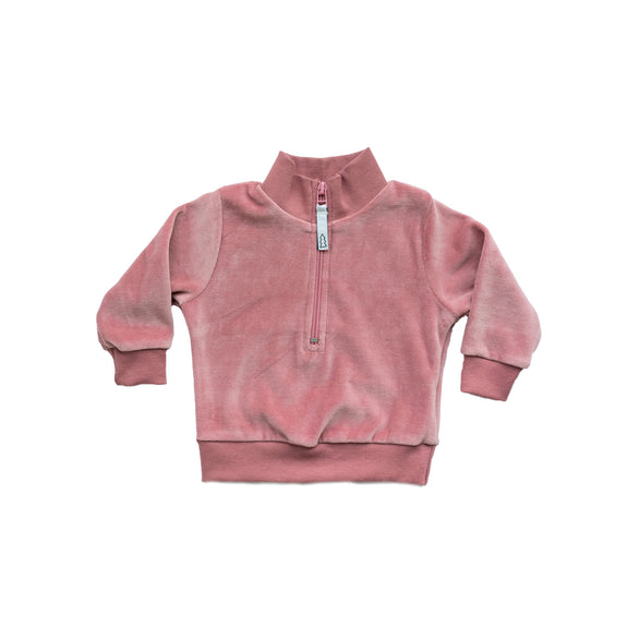 velour zip sweater - cotton candy